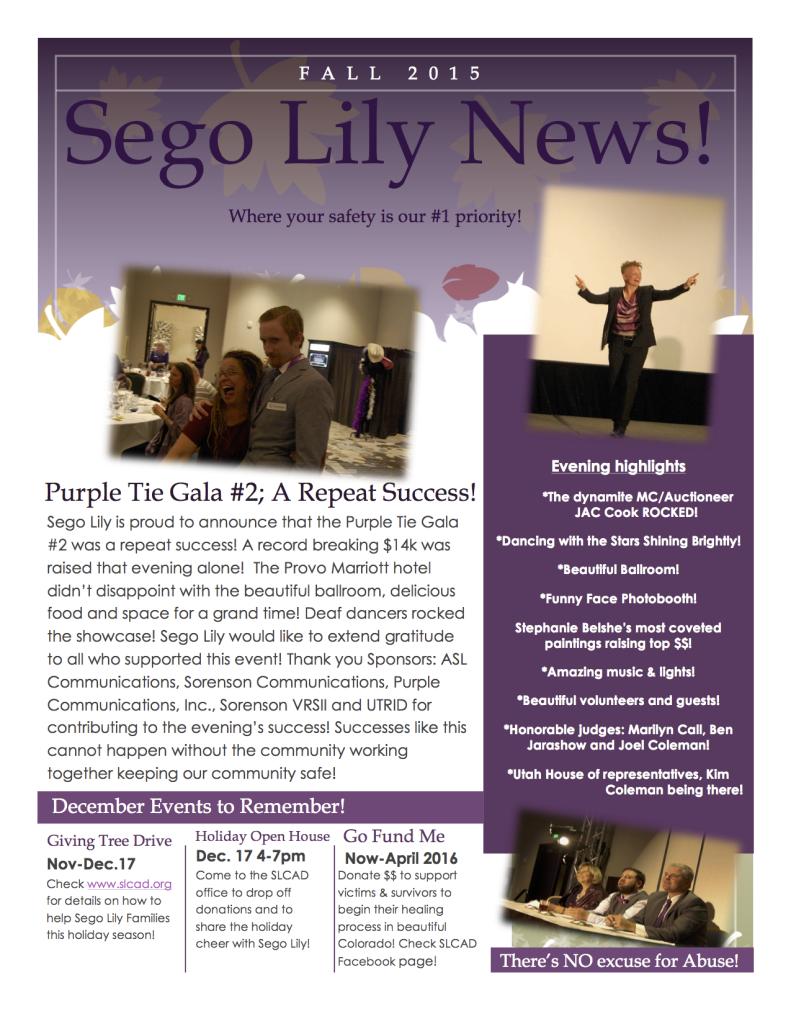 Sego Lily News Fall 2015
