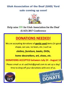 Uad Yardsale Donations Needed Utah Association Of The Deaf